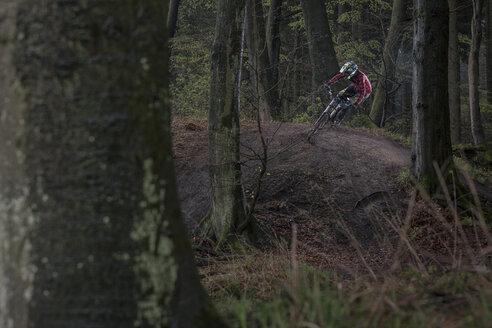 Germany, Lower Saxony, Deister, Bike Freeride in forest - MUMF000050