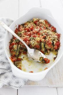 Zucchini Tomato Gratin in gratin dish - EVGF000530