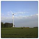 Germany, North Rhine-Westphalia, Petershagen, wind turbine in rural landscape near Petershagen. - HAWF000129