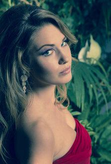 Portrait of woman wearing red evening dress - FCF000061
