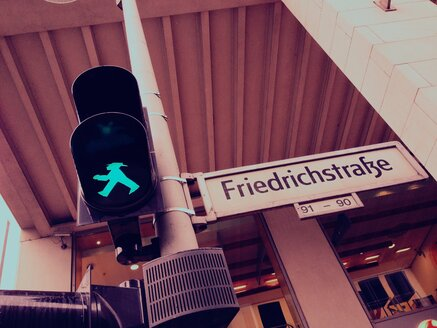 green traffic light man, Berlin, Friedrichstrasse, Germany - RIMF000229