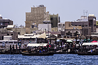 UAE, Dubai, Abra station at the creek in front of spice souq - THA000288