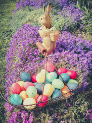 Easter, Easter eggs, Easter, Easter Bunny, Holiday, Tradition, Saxony, Germany, Aubretia - MJF001060