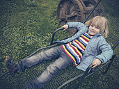 Boy, Child, deckchair, Garden, Relax, Saxony, Germany - MJF000989