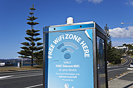 New Zealand, North Island, Northland, Doubtless Bay, sign for Free Wifi Zone - GW002756