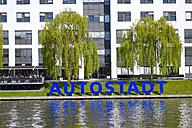 Germany, Lower Saxony, Wolfsburg, sign Autostadt, car city - KLR000027