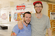 Portrait of two skate boarders - LAF000743