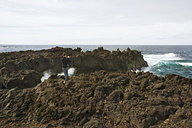 Portugal, Azores,Sao Miguel, Tourist capturing view - ONF000480