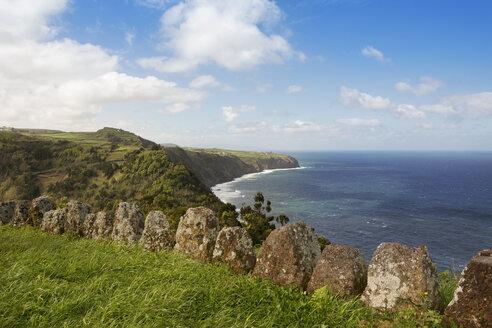 Portugal, Azores, Sao Miguel, Cliff line at Miradouro da Despe-te Que Sua - ONF000510