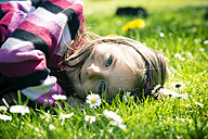 Portrait of little girl lying on meadow - SARF000556