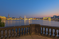 Germany, Hamburg, Binnenalster with skyline after sunset - RJF000121