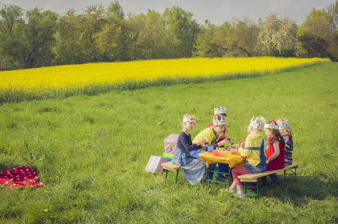 Six children with paper crowns celebrating birthday on a meadow - MJF001138