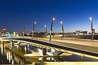 Germany, Hamburg, Bridge at Baakenhafen at night - MSF003886