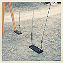 Two empty swing on a playground, La Palma, Spain - MSF003875