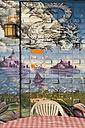 China, Hong Kong, Lamma Island, mural painting and seating in a restaurant at Yung Shue Wan - SH001238