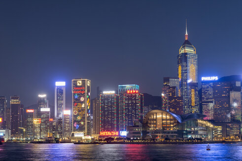 China, Hong Kong, downtown city centre by night - SHF001259