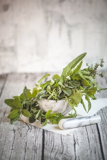 Different culinary herbs in a mortar - SBDF000856
