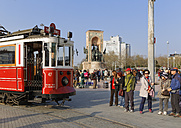 Turkey, Istanbul, Beyoglu, Taksim Meydani or square, Historical tram and Mustafa Kemal Atatuerk Memorial in the background - SIE005363