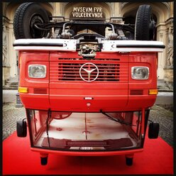 Fire truck upside down in front of the Museum of Ethnology, Munich, Germany - SRS000472