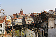 Turkey, Istanbul, Fatih, burnt down house and Phanar Greek Orthodox College - SIEF005384