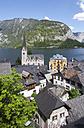 Austria, Upper Austria, Salzkammergut, Hallstatt, Lake Hallstaetter See, Evangelical church - WWF003266