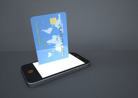 Smartphone and credit card in front of grey background, 3D Rendering - ALF000151
