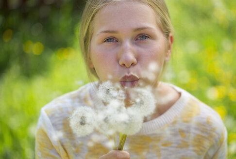 Portrait of teenage girl blowing blowballs on a flower meadow - WWF003312