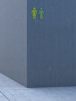 Two green icons on grey concrete wall, 3D Rendering - UWF000104