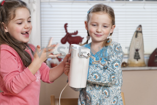 Portrait of two little girls with mixer - ECF000628