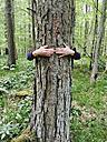 Germany, North Rhine-Westphalia Eifel, woman hugging tree - GWF002741