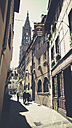 France, Alsace, Strasbourg, side street with view of Strasbourg Cathedral - SBDF000903