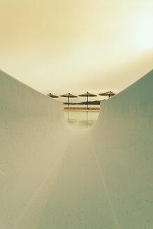 Croatia, Sibenik, Sunshades, Swimming pool of a hotel facility, Evening mood - MEMF000162