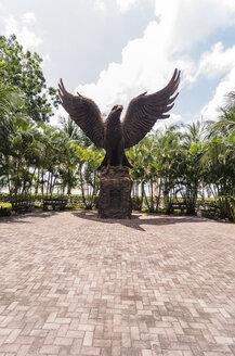 Indonesia, Riau Islands, Bintan, Nikoi Island, Eagle sculpture at he ferry port - THAF000370