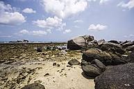 Indonesia, Riau Islands, Bintan, Nikoi Island, Beach with granite blocks - THAF000361