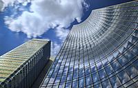 Germany, Hesse, Frankfurt, Skyper and Bahntower, view from below - TIF000055