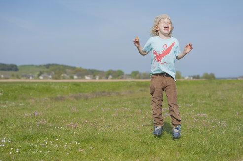 Germany, Mecklenburg-Western Pomerania, Ruegen, Screaming boy on meadow - MJF001209