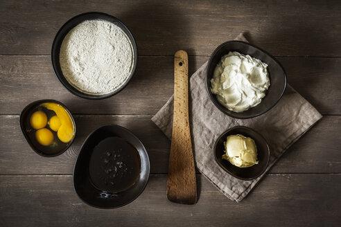 Baking ingredients of gluten-free and sugar-free rhubarb cake, elevated view - EVGF000576
