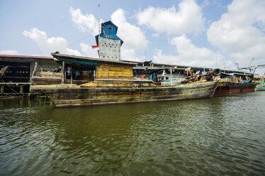 Indonesia, Riau Islands, Bintan Island, Fishing village, Fishing boat - THAF000381