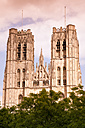 Belgium, Brussels, view to Cathedral of St Michael and St Gudula at evening twilight - WIF000720