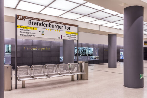 Germany, Berlin, modern architecture of  subway station Brandenburger Tor - NKF000116