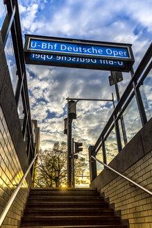 Germany, Berlin, entrance of subway station Deutsche Oper - NKF000124