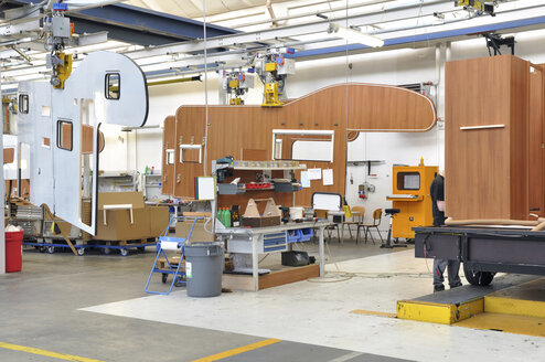 Assembly line production of motorhomes in a factory - SCH000226