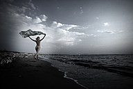 Greece, Corfu, naked young woman on the beach - AJF000034