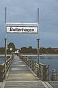 Germany, Mecklenburg-Western Pomerania, Boltenhagen, Baltic Sea, Landing stage in the evening, Sign - MEMF000110