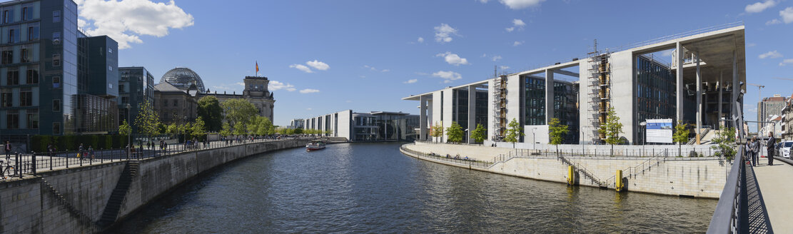 Germany, Berlin, Reichstag, Paul-Loebe-Haus, Marie-Elisabeth-Lueders-Haus and River Spree - HHEF000073