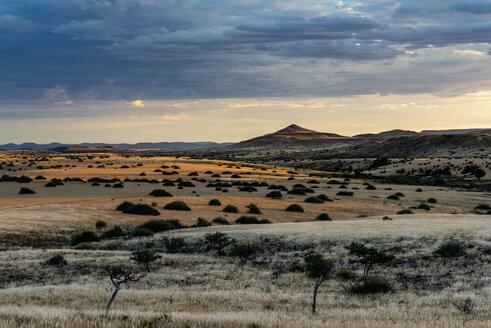 Africa, Namibia, Damaraland, sunset over landscape - HLF000598
