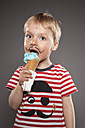 Portrait of little boy with painted beard and ice cream - OJF000029