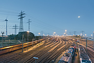 Germany, Hamburg, Switching yard station Altenwerder at night - MS003969