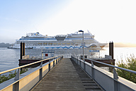 Germany, Hamburg, cruise ship passing landing jetty Rueschpark at Finkenwerder - MS003975