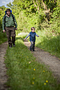 Germany, Rhineland-Palatinate, Moselsteig, father and his little son hiking - PA000699